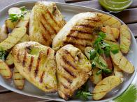 Grilled Chicken with Roasted Garlic-Oregano Vinaigrette and Grilled Fingerling Potatoes