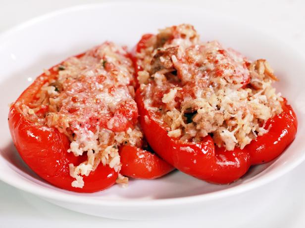 Stuffed Peppers with Broken Meatballs and Rice