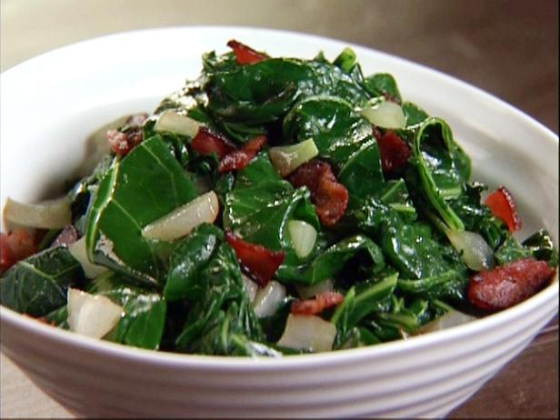 Quick-Braised Greens with Bacon and Sweet Onions