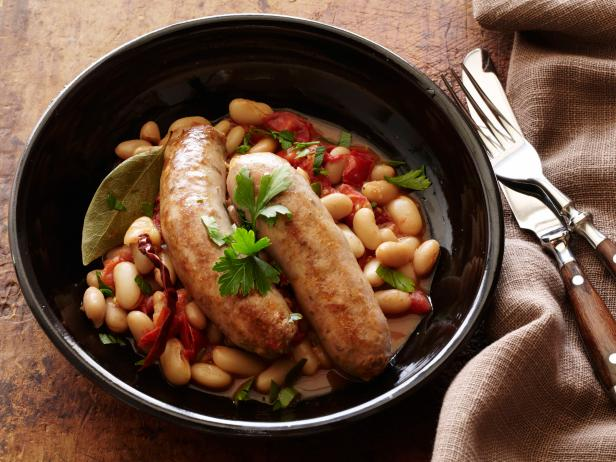 Turkey Sausages with Spicy Beans : Sausages with Fagioli All'uccelletta