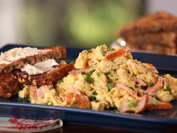Smoked Salmon and Scallion Scramble with Whole Grain Toast with Goat Cheese Butter