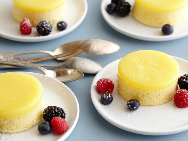 Lemon Pudding Cake with Fresh Mixed Berries