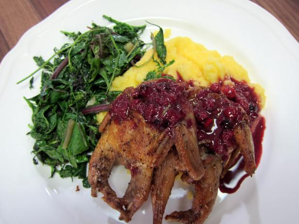 Quail with Wild Cherry and Barolo Sauce