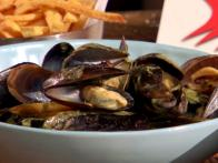 Steamed Mussels with Coconut-Green Chile Broth and Black Pepper French Fries with Smoked Red Pepper Aioli