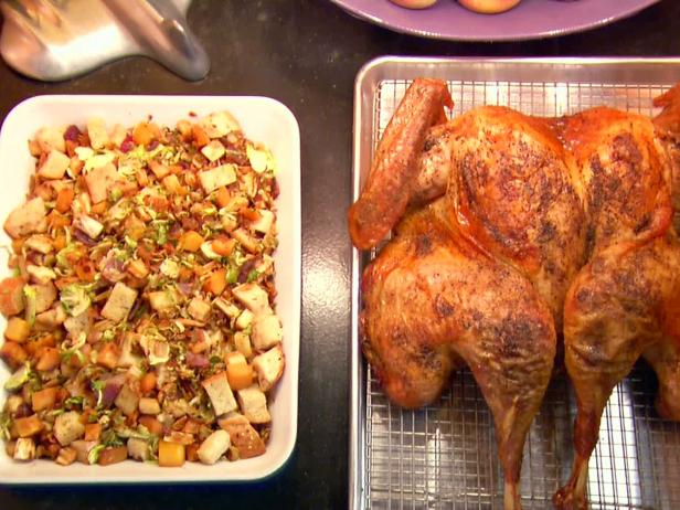 Butterflied, Dry Brined Roasted Turkey with Roasted Root Vegetable Panzanella