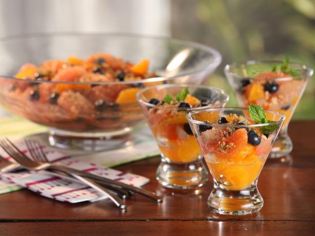 Citrus Blueberry Salad with Almond Relish and Minted Sugar
