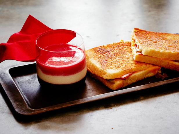 Super Grilled Ham and Cheese with Red, White and Blue Smoothie