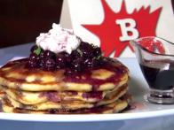 Lemon-Blueberry-Ricotta-Buttermilk Pancakes with Blueberry-Cassis Relish and Blueberry Maple Syrup