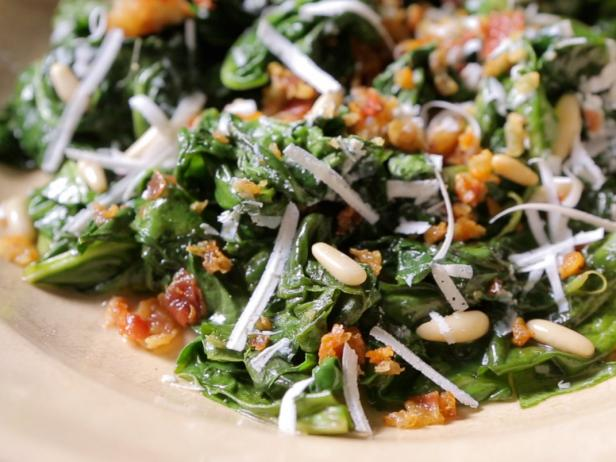 Sauteed Swiss Chard with Pine Nuts and Pancetta