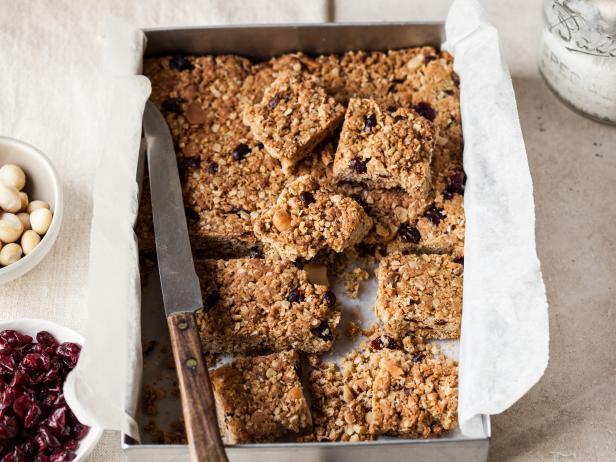 Oat Bars with Cranberries and Macadamia Nuts