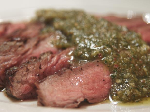 Seared Flat-Iron Steak with Almond-Sage Pesto