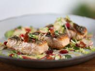 Seared Salmon and Brussels Sprout-Apple Salad with Bacon and Maple-Thyme Vinaigrette
