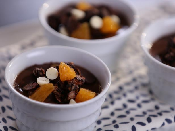 Chocolate-Orange Yogurt Panna Cotta with Chocolate-Coconut Granola