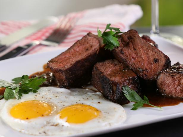Mole-Rubbed Steak and Eggs with Chocolate Stout Beurre Blanc