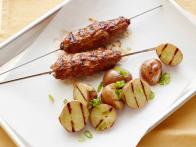 Meatloaf Kebabs with Grilled Potato Salad
