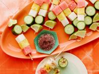 Watermelon-Cucumber Kebabs with Chile Salt