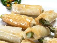Phyllo Wrapped Asparagus and Boursin