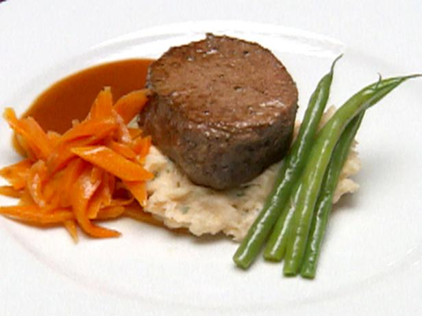 Filet Mignon over Lobster Boursin Mashed Potatoes with a Merlot Reduction