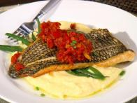 Black Bass with Piperade and Polenta