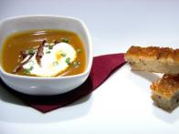 "Robiola and Mushroom Grilled Cheese ""Soldiers"" with Butternut Squash Soup"