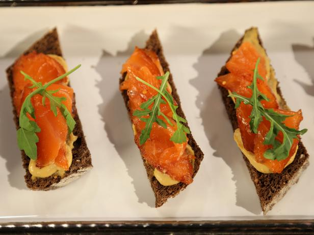 Pastrami-Style Gravlax with Sweet English Mustard on Pumpernickel Toast