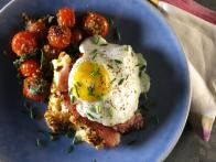 Croque Madame Bread Pudding with Herb-Crusted Tomatoes