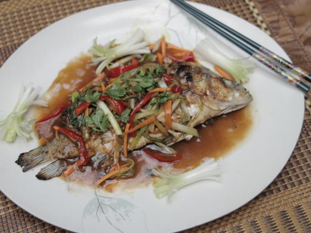 Bacon and Water Chestnut Stuffed Fish with Ginger Sauce