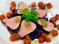 Jerk-Spiced Pork Tenderloin with Black Beans and Caramelized Sweet Potatoes