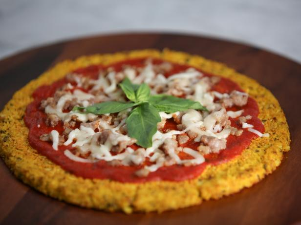 Cauliflower Pizza Crust with Sausage and Basil