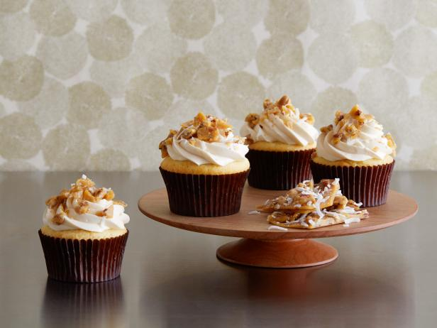 Salted Caramel Cupcakes with Pecan Coconut Brittle Crumble and Caramel Swiss Buttercream