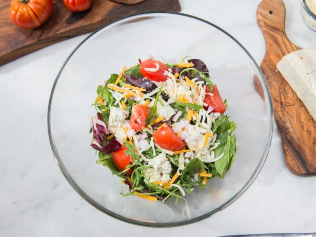 Three-Cheese Mixed Green Salad with Vinaigrette Dressing