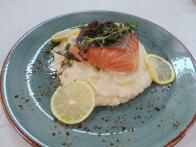 Slow Roasted Salmon with Garlic Potato Puree