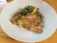 African Pompano Collar with Warm Kale Salad and Pancetta Vinaigrette