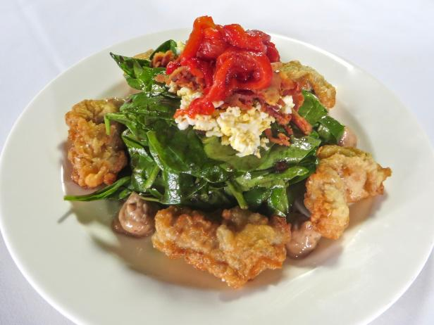 Fried Oyster Salad with Bacon Balsamic Aioli