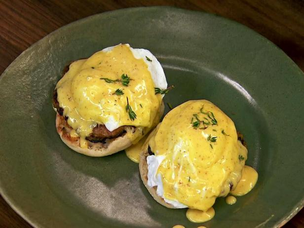 Eggs Benedict with Apple Sausage and Mustard Hollandaise