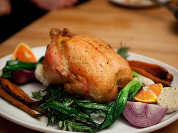 Roasted Chicken with Star Anise Sauce, Ginger Carrots and Snap Peas