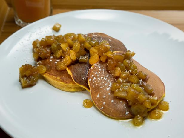 Pumpkin-Ricotta Pancakes with Chunky Apple-Raisin Sauce