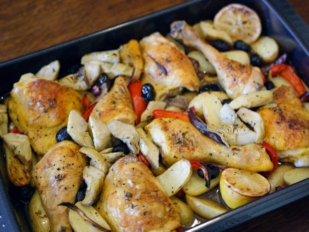 Roast Chicken with Lemon, Artichokes and Peppers