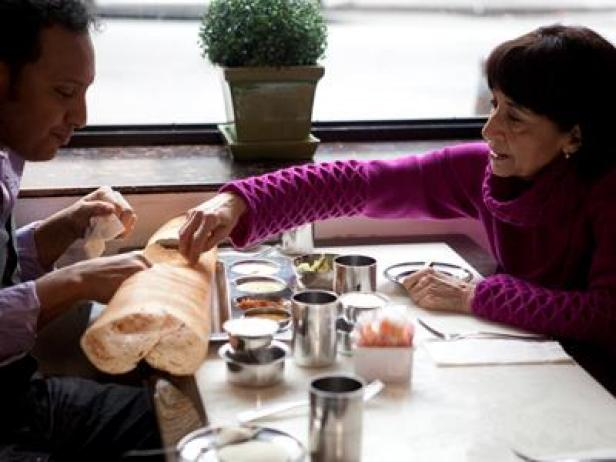 Aasif Mandvi and Madhur Jaffrey enjoy a traditional dosa breakfast