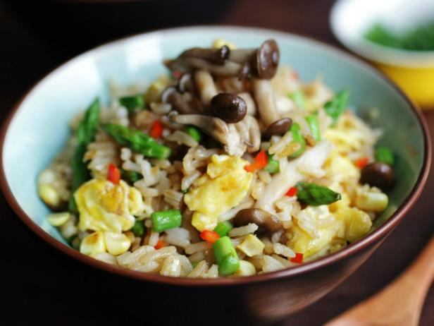 Vegetarian fried rice recipe devour cooking channel meatless monday egg asparagus and mushroom fried rice forumfinder Images