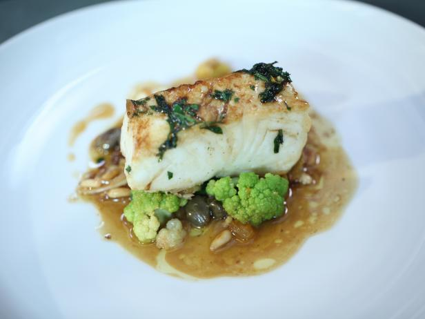 Pan-Roasted Pacific Halibut, Sicilian Cauliflower, Capers, Raisins, Orange Brown Butter