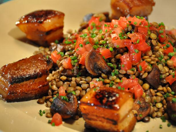 Crispy Glazed Pork Belly with Aromatic Lentils