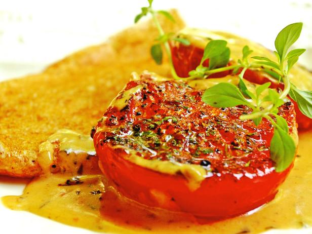 Buckwheat Crepes with Thyme Cream Tomatoes