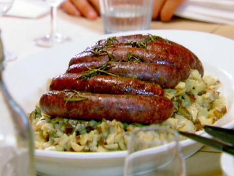 Potato Risotto with Pan-Grilled Lamb Sausages