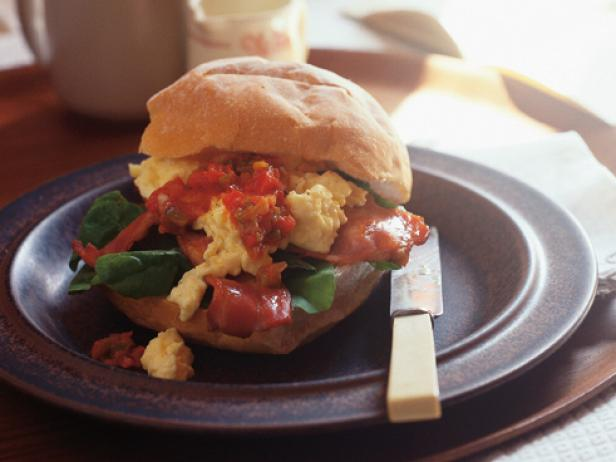 Bacon and Egg Rolls with Spicy Tomato Relish