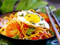 Shrimp Stir-Fry with Fried Egg and Flavored Vinegar