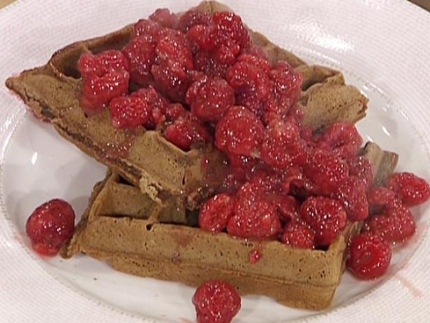 Chocolate Waffles with a Fresh Raspberry Syrup