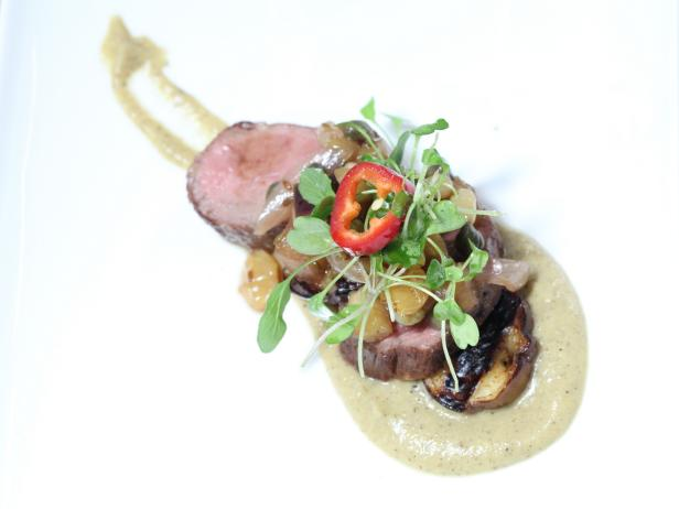Pan Roasted Lamb Loin with Sweet and Sour Relish and (Smoky or Grilled) Eggplant Puree