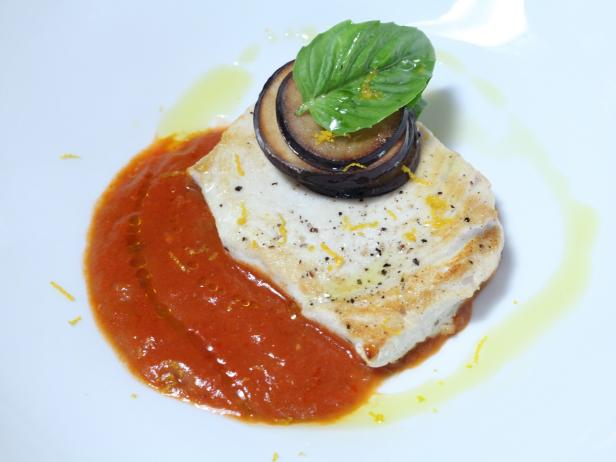 Swordfish with Crispy Eggplant Chips, Tomato and Eggplant Sauce