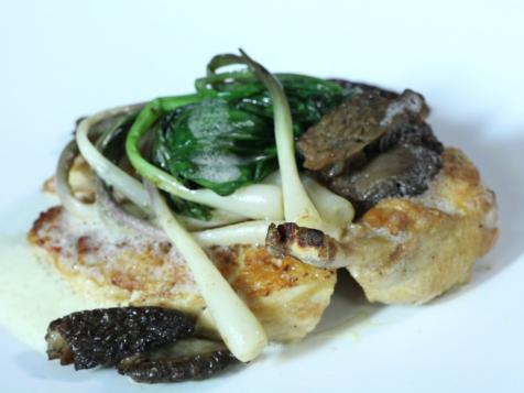 Pan-Roasted Breast with Morels, Ramps and Frothed Parmesan